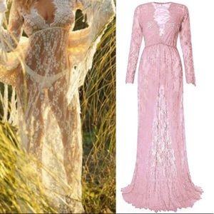 Muted Rose IvyLeaf Sheer Soft Lash Lace Maxi Dress